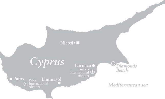 Map of Diamonds Beach, Cyprus