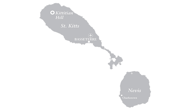 Map of Kittitian Hill, St. Kitts & Nevis