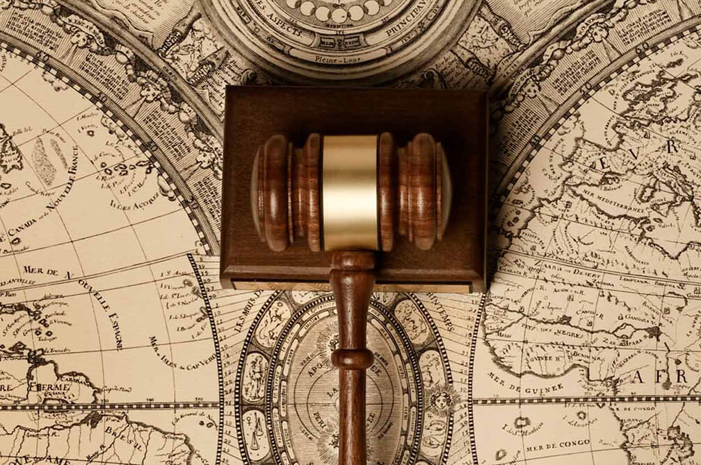 historical map with court gavel