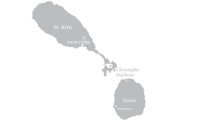 Map of Christope Harbour, St. Kitts & Nevis